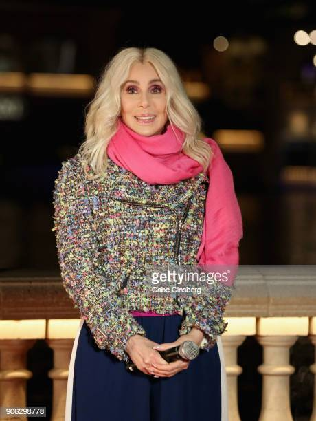 """Actress/singer Cher unveils a new Fountains of Bellagio show choreographed to her song """"Believe"""" on January 17, 2018 in Las Vegas, Nevada."""