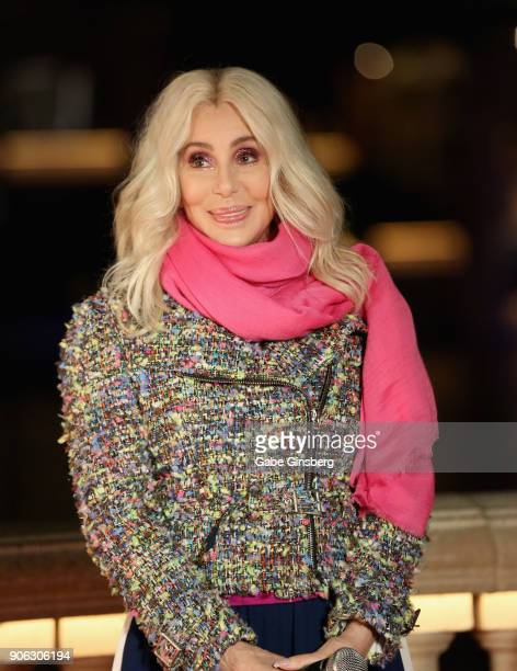 Actress/singer Cher unveils a new Fountains of Bellagio show choreographed to her song 'Believe' on January 17 2018 in Las Vegas Nevada