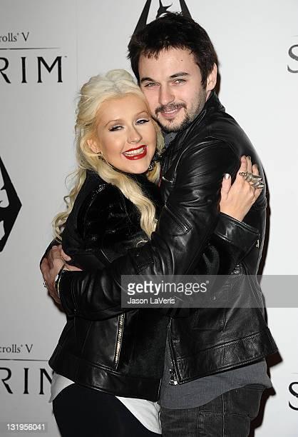 Actress/singer Christina Aguilera and boyfriend Matt Rutler attend the 'The Elder Scrolls V Skyrim' video game launch party at Belasco Theatre on...