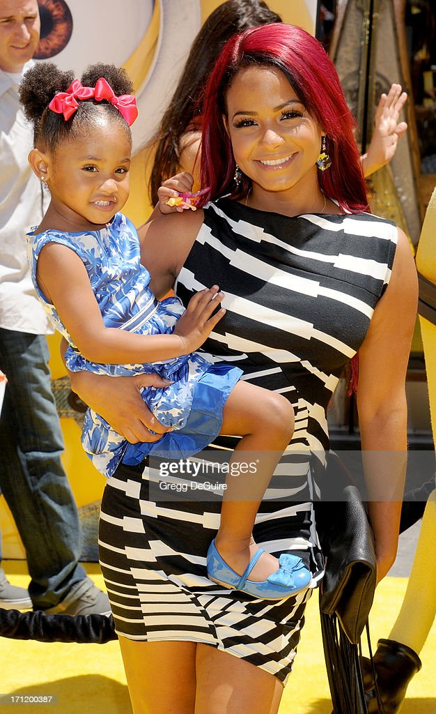 Actress/singer Christina Milian and daughter Violet arrive at the Los Angeles premiere of 'Despicable Me 2' at Universal CityWalk on June 22, 2013 in Universal City, California.