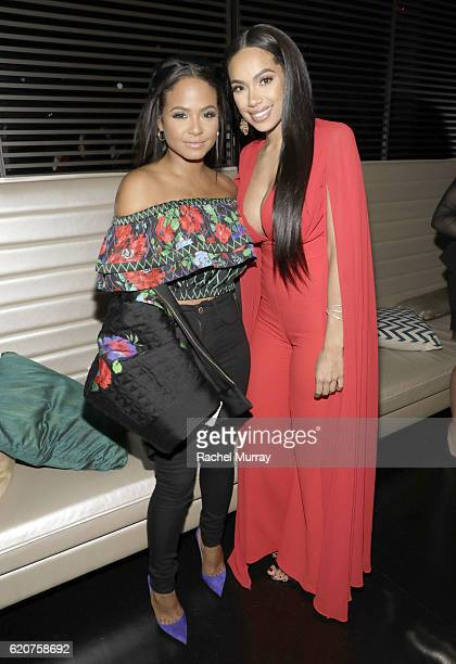 Actress/Singer Christina Milian and Model/Designer Erica Mena attend Latina's 20th Anniversary celebrating The Hollywood Hot List Honorees at STK on...