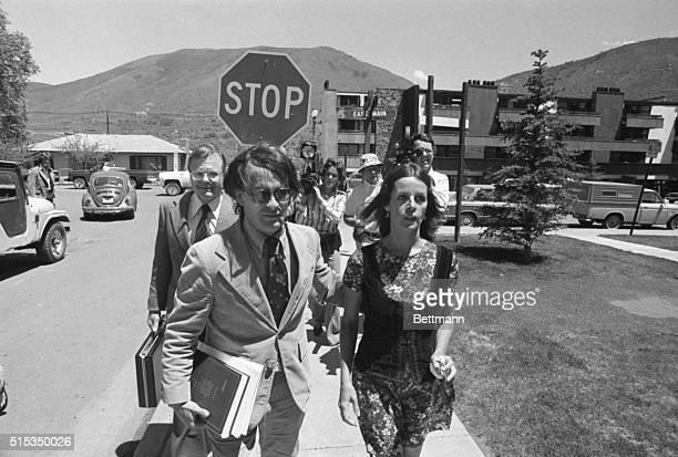 Actresssinger Claudine Longet is escorted by unidentified attorney as she leaves Pitkin County Courthouse Miss Longet charged with 4th degree...