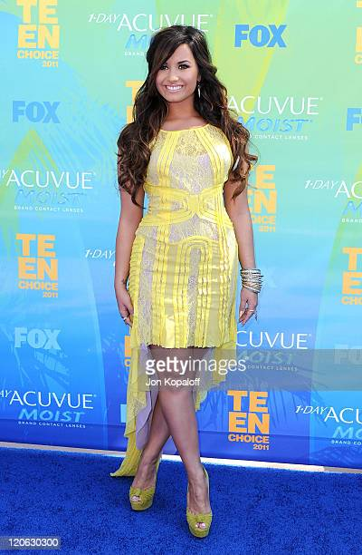 Actress/singer Demi Lovato arrives at the 2011 Teen Choice Awards held at Gibson Amphitheatre on August 7 2011 in Universal City California