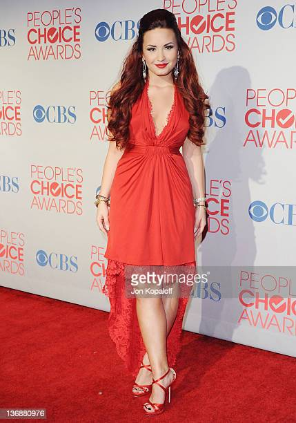 Actress/singer Demi Lovato poses at the 2012 People's Choice Awards Press Room at Nokia Theatre LA Live on January 11 2012 in Los Angeles California