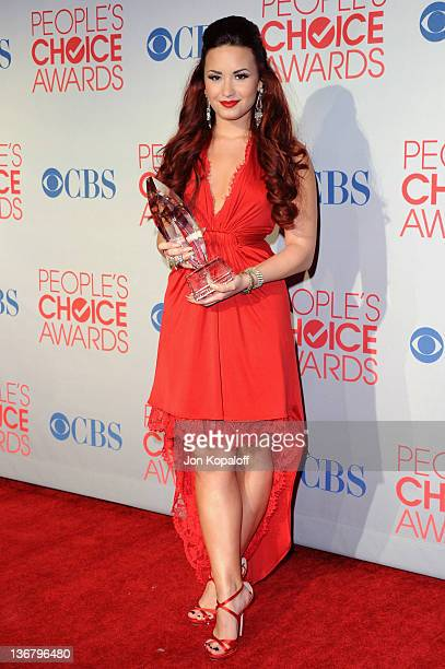 Actress/singer Demi Lovato poses in the press room at 2012 People's Choice Awards held at Nokia Theatre LA Live on January 11 2012 in Los Angeles...