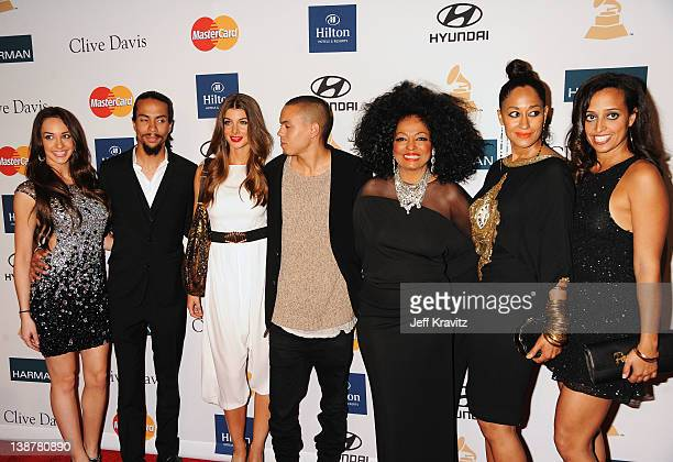 Actress/Singer Diana Ross Evan Ross Tracee Ellis Ross Chudney Ross Ross Arne Naess and guests arrive at Clive Davis and the Recording Academy's 2012...