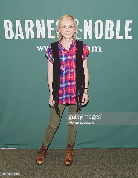 Actress/singer Emily Kinney poses before performing and signing copies of her new album The Is War at Barnes Noble Union Square on October 2 2015 in...
