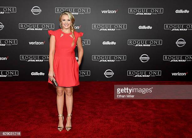 Actress/singer Emily Osment attends the premiere of Walt Disney Pictures and Lucasfilm's Rogue One A Star Wars Story at the Pantages Theatre on...
