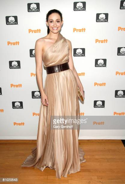 Actress/singer Emmy Rossum poses at the 2008 Pratt Institute Fashion Icon Award fashion show at The Altman Building on May 7 2008 in New York City