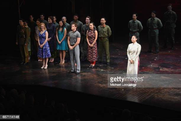 Actress/singer Eva Noblezada takes part in the curtain call on the opening night of 'Miss Saigon' Broadway at the Broadway Theatre on March 23 2017...