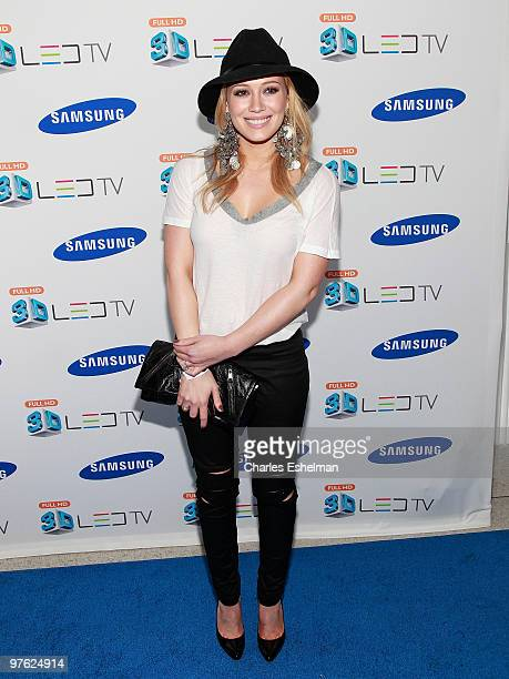 Actress/singer Hilary Duff attends The Black Eyed Peas launch the Samsung 3D LED TV at the Time Warner Center on March 10 2010 in New York City