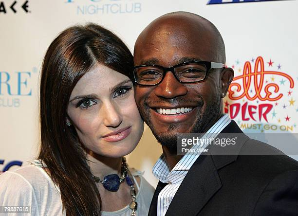 Actress/singer Idina Menzel and her husband actor Taye Diggs arrive at the after party for the premiere of Bette Midler's new show The Showgirl Must...