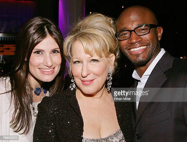 Actress/singer Idina Menzel singer/actress Bette Midler and Menzel's husband actor Taye Diggs attend the after party for the premiere of Midler's new...
