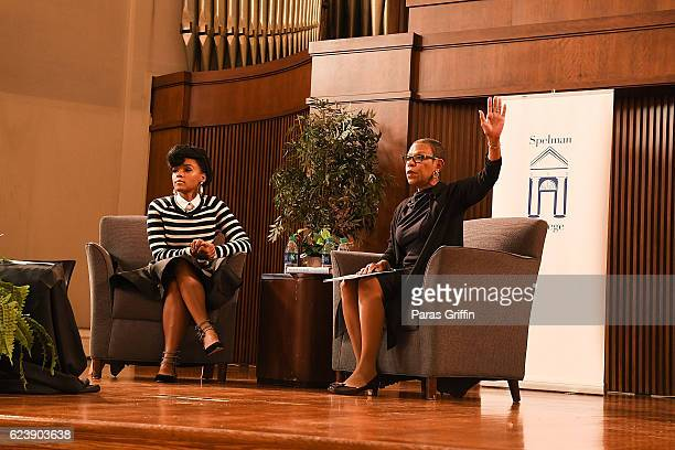 Actress/singer Janelle Monae and Spelman College president Dr Mary Schmidt Campbell onstage at Hidden Figures Q A Discussion at Spelman Convocation...