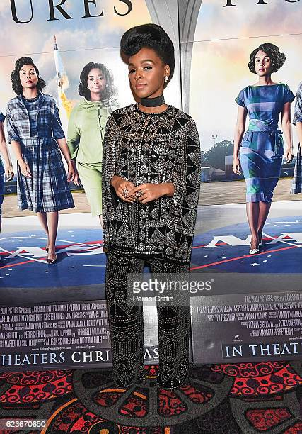 Actress/singer Janelle Monae attends Hidden Figures advanced screening hosted by Janelle Monae Pharrell Williams at Regal Cinemas Atlantic Station...