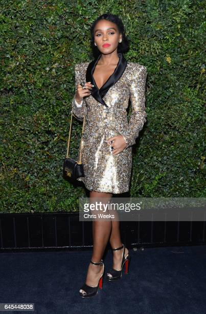 Actress/singer Janelle Monae wearing CHANEL attends the Charles Finch and CHANEL PreOscar Awards Dinner at Madeo Restaurant on February 25 2017 in...