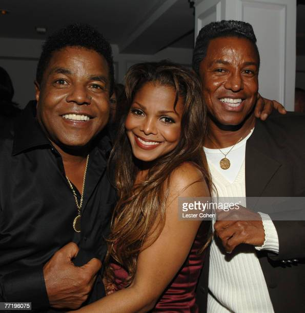 HOLLYWOOD OCTOBER 04 **EXCLUSIVE** Actress/singer Janet Jackson and brothers Tito Jackson and Jermaine Jackson attend the after party for the...