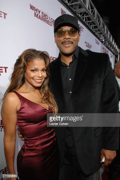 Actress/singer Janet Jackson and writer/director Tyler Perry arrive to the premiere of Why Did I Get Married at the Cinerama Dome on October 14 2007...
