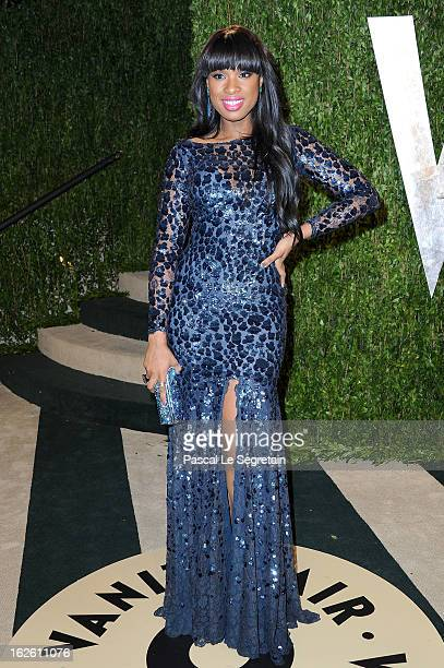 Actress/singer Jennifer Hudson arrives at the 2013 Vanity Fair Oscar Party hosted by Graydon Carter at Sunset Tower on February 24 2013 in West...