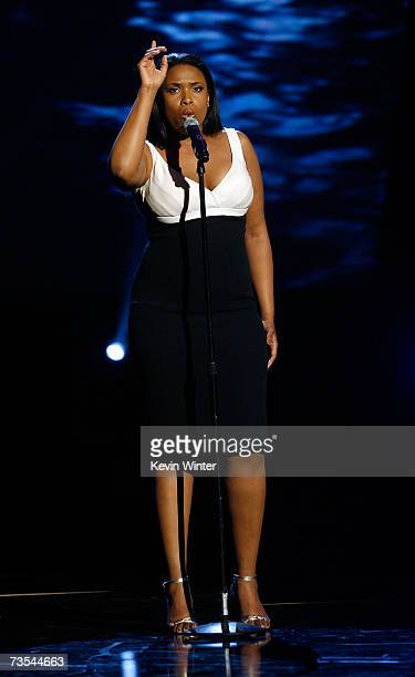 Actress/singer Jennifer Hudson performs onstage during the 21st Annual Soul Train Music Awards held at the Pasadena Civic Auditorium on March 10 2007...