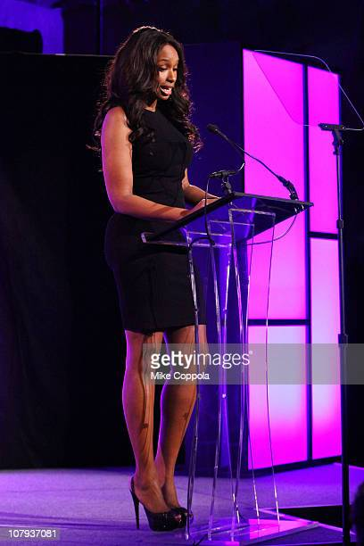 Actress/Singer Jennifer Hudson speaks onstage at the 9th Annual JIC GEM Awards with Kay Jewelers at Cipriani 42nd Street on January 7 2011 in New...