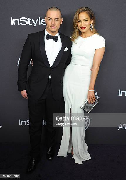 Actress/singer Jennifer Lopez and Casper Smart arrive at the 2016 InStyle And Warner Bros 73rd Annual Golden Globe Awards PostParty at The Beverly...