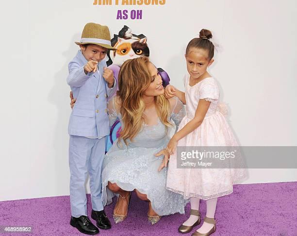 Actress/singer Jennifer Lopez and children Emme Maribel Muñiz and Maximilian David Muñiz arrive at the 'HOME' Los Angeles Premiere at Regency...