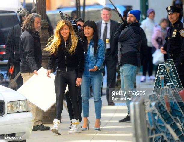 Actress/Singer Jennifer Lopez and Constance Wu are seen filming on location for 'Hustlers' in SoHo on April 1 2019 in New York City