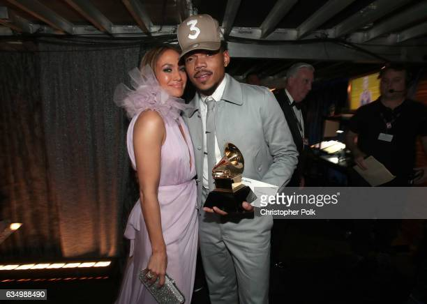 Actress/Singer Jennifer Lopez and hiphop artist Chance The Rapper attend The 59th GRAMMY Awards at STAPLES Center on February 12 2017 in Los Angeles...