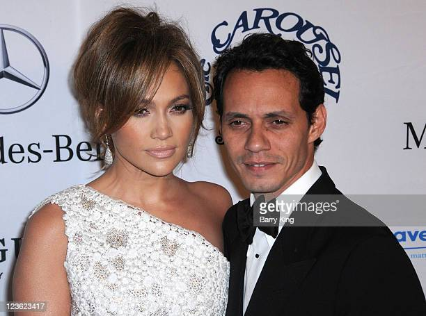 Actress/singer Jennifer Lopez and husband singer Marc Anthony arrive at the 32nd Anniversary Carousel of Hope Ball at The Beverly Hilton hotel on...
