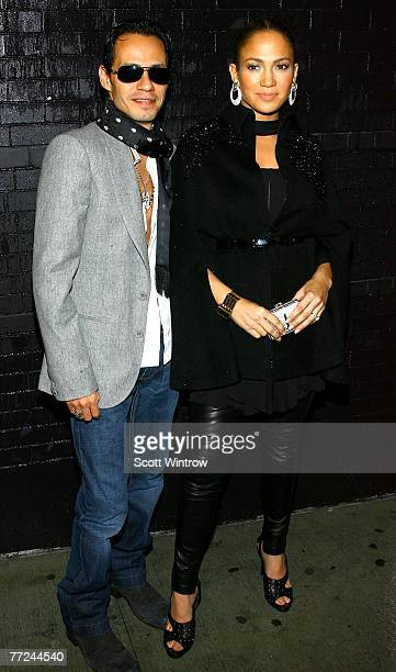 Actress/singer Jennifer Lopez and singer Marc Anthony attend the celebration for the release of her new album titled Brave at Buddakan October 9 2007...