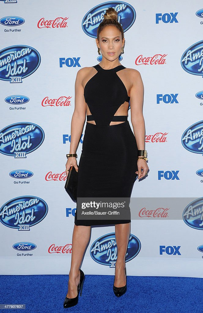 Actress/singer Jennifer Lopez arrives at Fox's 'American Idol XIII' finalists party held at Fig & Olive Melrose Place on February 20, 2014 in West Hollywood, California.