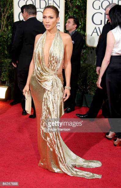 Actress/singer Jennifer Lopez arrives at the 66th Annual Golden Globe Awards held at the Beverly Hilton Hotel on January 11 2009 in Beverly Hills...
