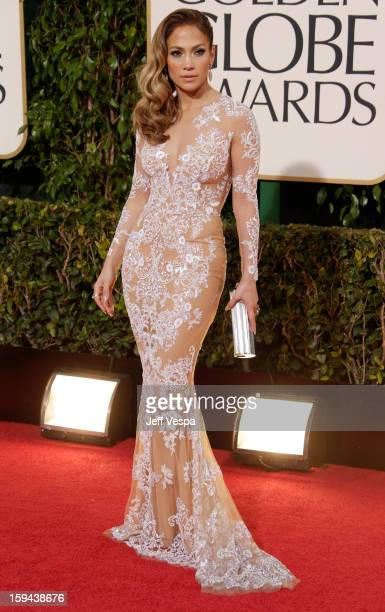 Actresssinger Jennifer Lopez arrives at the 70th Annual Golden Globe Awards held at The Beverly Hilton Hotel on January 13 2013 in Beverly Hills...