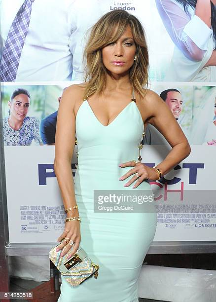 Actress/singer Jennifer Lopez arrives at the premiere of Lionsgate's 'The Perfect Match' at ArcLight Hollywood on March 7 2016 in Hollywood California