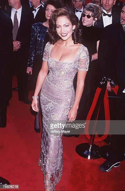 Actress/Singer Jennifer Lopez arrives on the red carpet for the 69th Annual Academy Awards on March 24 1997 at the Shrine Auditorium in Los Angeles...