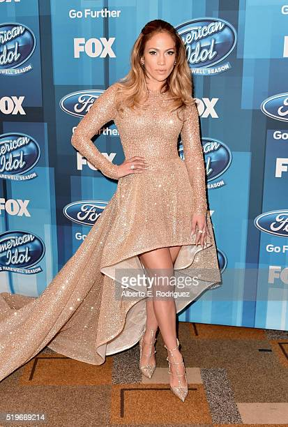 Actress/Singer Jennifer Lopez attends FOX's 'American Idol' Finale For The Farewell Season at Dolby Theatre on April 7 2016 in Hollywood California...