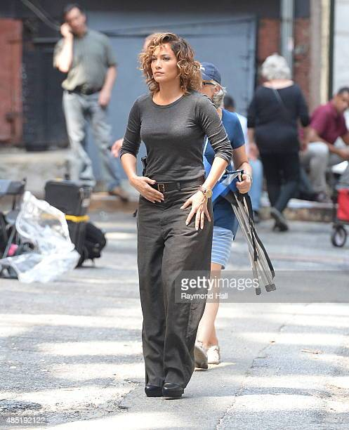 Actress/Singer Jennifer Lopez is seen on the set of 'Shades of Blue' on August 25 2015 in New York City