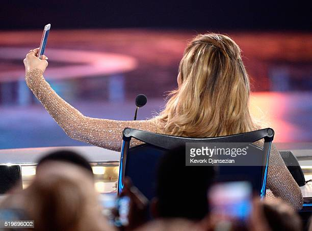 Actress/singer Jennifer Lopez is seen onstage during FOX's American Idol Finale For The Farewell Season at Dolby Theatre on April 7 2016 in Hollywood...