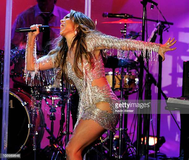 Actress/singer Jennifer Lopez performs onstage at the 32nd Anniversary Carousel of Hope Gala at the Beverly Hilton Hotel on October 23 2010 in...