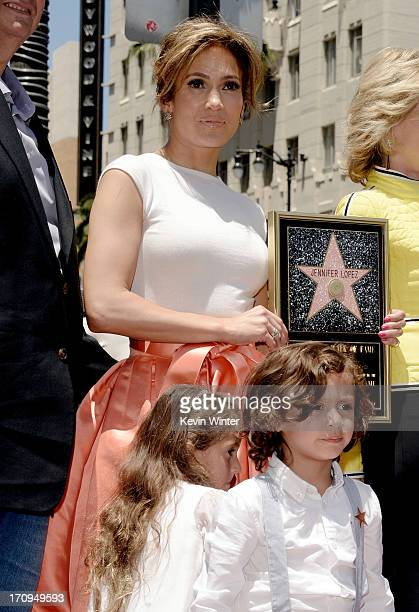 Actress/singer Jennifer Lopez with her children Emme and Max is honored with the 2500th star on the Hollywood Walk of Fame on June 20 2013 in Los...