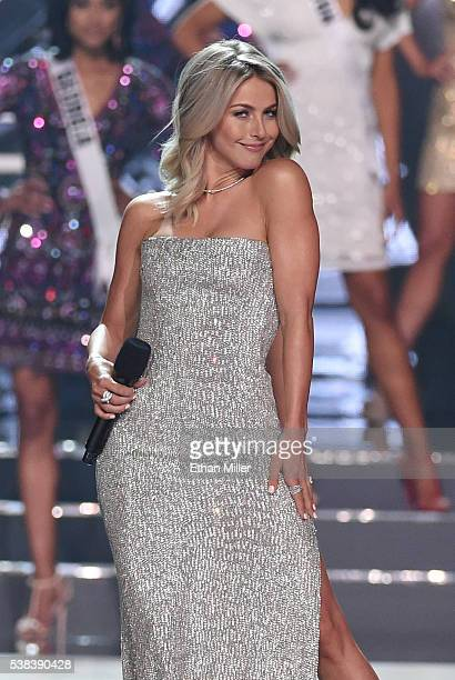 Actress/singer Julianne Hough poses onstage as she cohosts the 2016 Miss USA pageant at TMobile Arena on June 5 2016 in Las Vegas Nevada