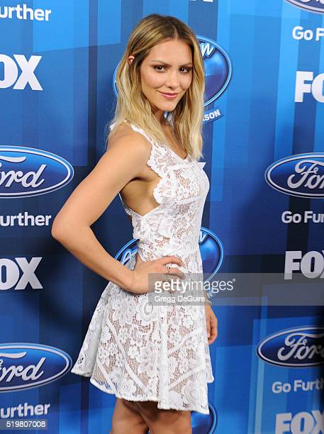 Actress/singer Katharine McPhee arrives at FOX's 'American Idol' Finale For The Farewell Season at Dolby Theatre on April 7 2016 in Hollywood...