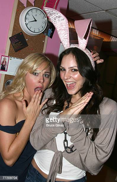 NEW YORK OCTOBER 06 Actress/Singer Katharine McPhee poses as she visits friend Laura Bell Bundy star of MTV and Broadways hit musical Legally Blonde...