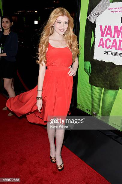 Actress/singer Katherine McNamara attends the premiere of The Weinstein Company's Vampire Academy at Regal Cinemas LA Live on February 4 2014 in Los...