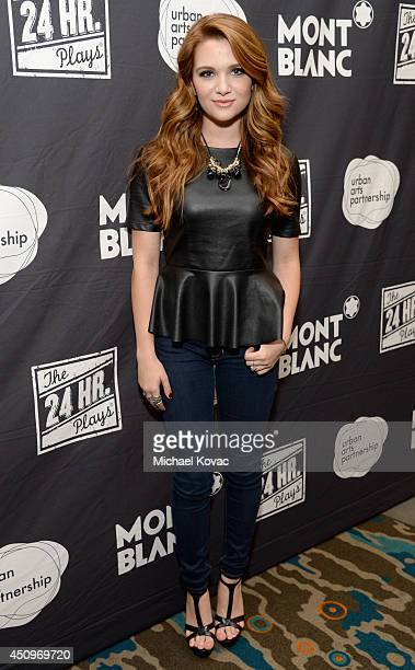 Actress/singer Katie Stevens attends Montblanc and Urban Arts Partnership's 24 Hour Plays in Los Angeles at The Shore Hotel on June 20 2014 in Santa...