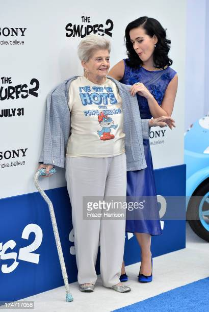 Actress/Singer Katy Perry and grandmother Ann Hudson attends the premiere of Columbia Pictures' Smurfs 2 at Regency Village Theatre on July 28 2013...