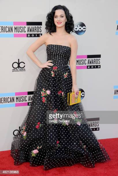 Actress/singer Katy Perry arrives at the 2013 American Music Awards at Nokia Theatre LA Live on November 24 2013 in Los Angeles California