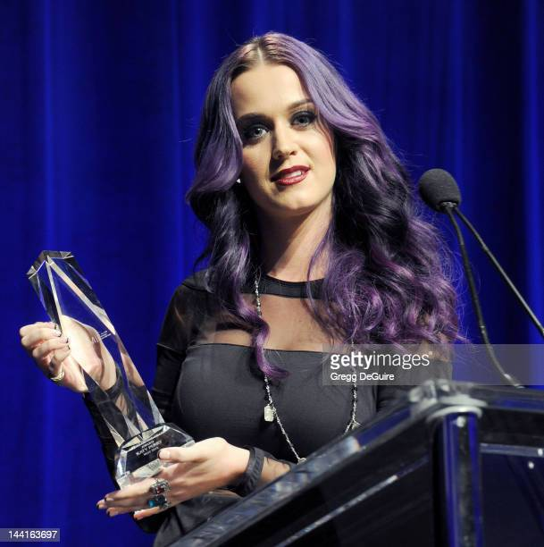 Actress/singer Katy Perry attends the NARM Music Biz 2012 awards dinner party at the Hyatt Regency Century Plaza on May 10 2012 in Century City...