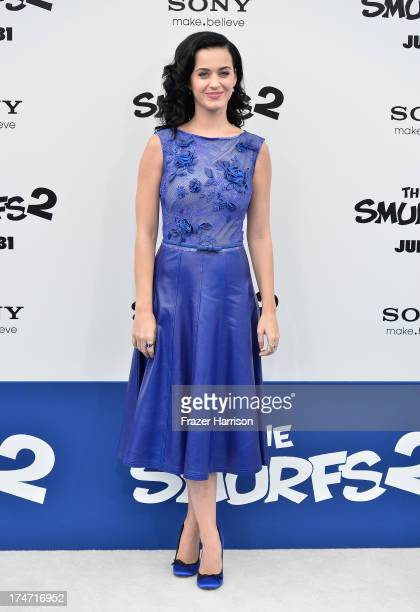 "Actress/Singer Katy Perry attends the premiere of Columbia Pictures' ""Smurfs 2"" at Regency Village Theatre on July 28, 2013 in Westwood, California."